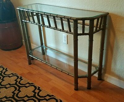 Hollywood Regency Console table Chippendale Brass bamboo table Entryway vintage