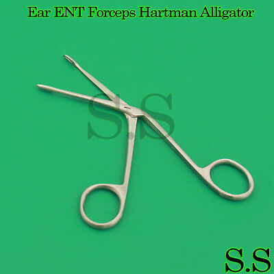 "3 Pcs Ear ENT Forceps Hartman Alligator 2.5"" Surgical 1cm Jaws New Instruments"