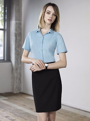 Newport Ladies Short Sleeve Corporate Shirt, Biz Collection, Size 4 to 26