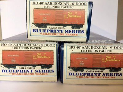 3 Branchline Trains Blueprint Series HO 40ft Boxcars Kits
