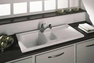 Luna Ceramic Kitchen Sink Range Pure White Including Waste And Plumbing