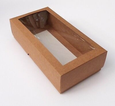 5 KRAFT 8 x 4 INCH BOXES WITH WINDOW, GIFTS, CAKES, GARMENTS ETC