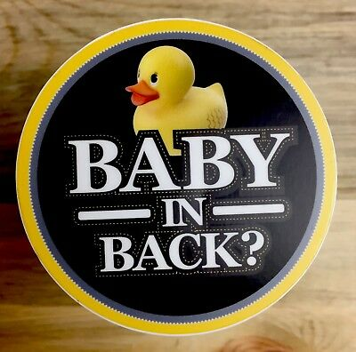 "2-pc Baby in Back? Reminder and Safety Sticker Decal - Baby in Car - 3"" Round"