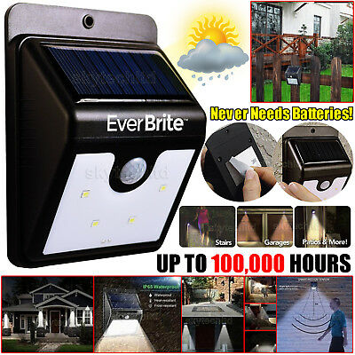 New Ever Brite Motion-Activated Solar Power LED Light Induction Lamp Home Bright