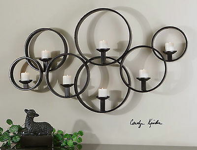 """New Stately 65"""" Black Hand Forged Metal Decorative Wall Sconce Candle Holder"""