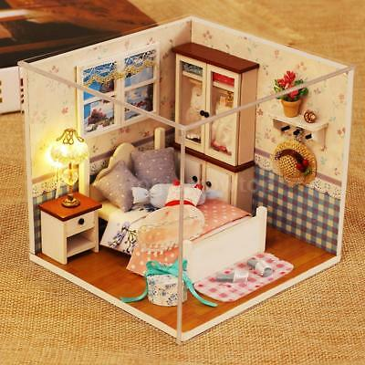 DIY House Miniature Kit Dollhouse Room with Furniture LED for Kids Gift D5S2