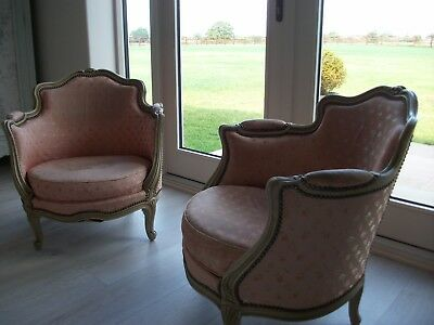 Pair French Louis Xv Upholstered Tub Chairs