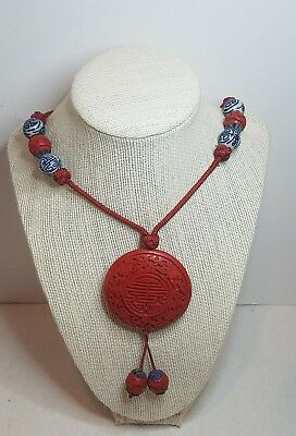 Vintage Asian Chinese Beaded Cinnabar Necklace Red Carved 26""