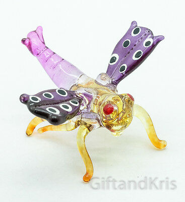 Figurine Animal Hand Blown Glass Insect Dragonfly - GTSP019