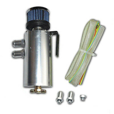 Aluminium Oil Catch Tank Can Reservoir With Baffled + Breather Filter Universal