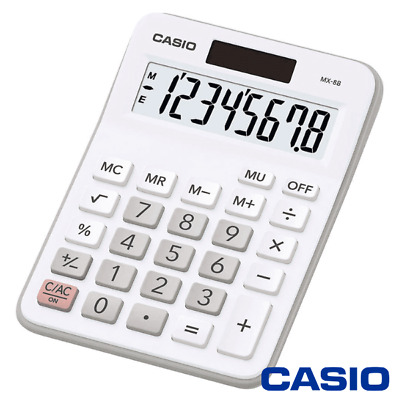 Casio Mx-8 Calculator White For Office Desktop Business & Students - Mx8 / Mx8B
