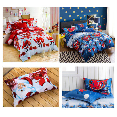 Christmas Tree Santa Claus Reindeer Snowman Quilt Duvet Cover Bedding Set