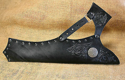 Arrow Quiver Side Burner Leather Black Celtic embossing bow Protection Butt