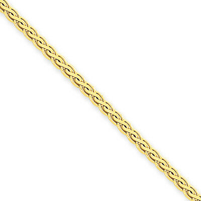 3mm, 14k Yellow Gold, Flat Wheat Chain Necklace, 16 Inch