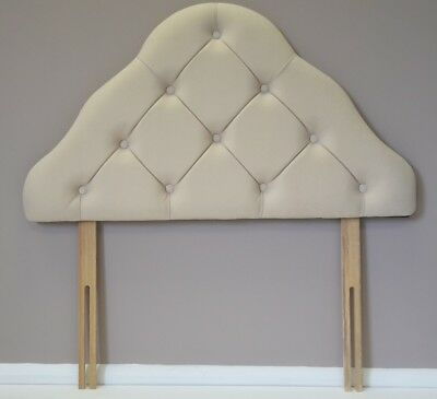 Small single ivory cream velour upholstered padded headboard bed head end board