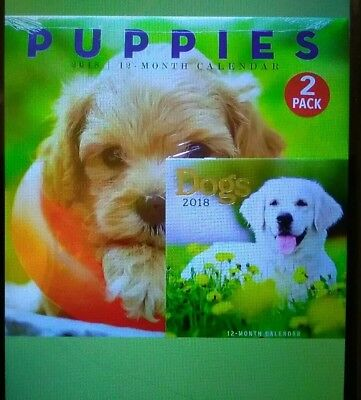 2018 12 Month 2 Pack Calendar Set New Puppies & Dogs Monthly Page Format
