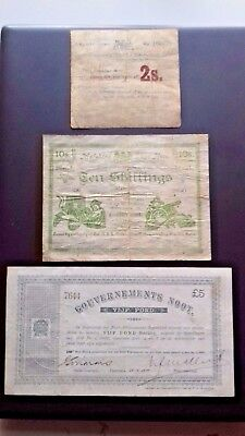 1900 Boar War Rare Banknotes, 2 and 10 Shillings notes and £5 note.