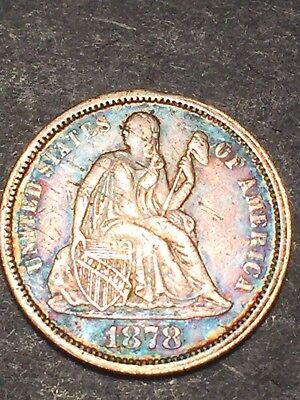 1878 Seated Liberty Dime, Toned And Damaged
