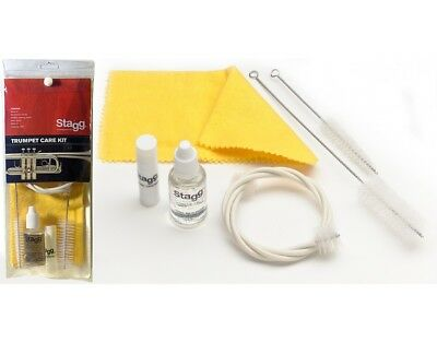 Stagg Trumpet Care Kit Valve Slide Oil Flexible Mouth Brush Cleaning Cloth SCKTP