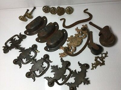 Lot of 15 VINTAGE Antique METAL DRAWER Pulls, 2 WOODEN ROLLERS, 1 LOCK PLATE