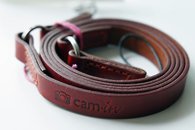 Tan Leather camera strap w/ ring & string loop connection CAM2280 UK Stock