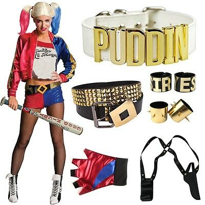 Harley Quinn Cosplay Suicide Squad Glove Belt Wig Costume Halloween