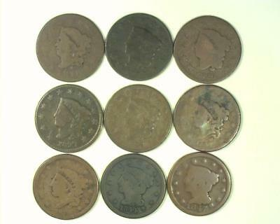 1816-1847 LARGE CENT 9pc CIRCULATED COLLECTOR LOT SET  ~LC05