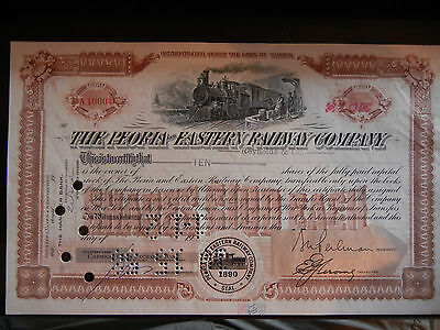 Peoria and Eastern Railway Company Stock Certificate