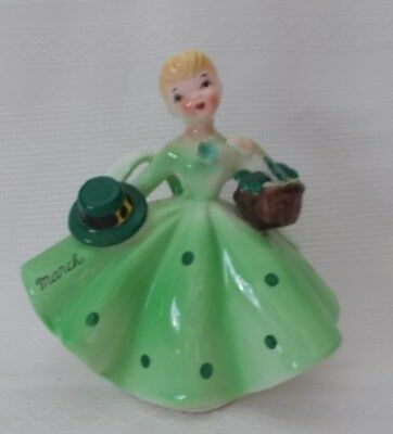 Vintage Lefton Porcelain March Birthday Girl 1853 With Sticker