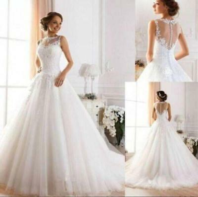 2017 New White/Ivory Lace Wedding Dress Bridal Gown Size 6 8 10 12 14 16 18 ERY