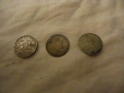 3 1800's 3 Cent Silver Trime Early U.S. Collectible Coin