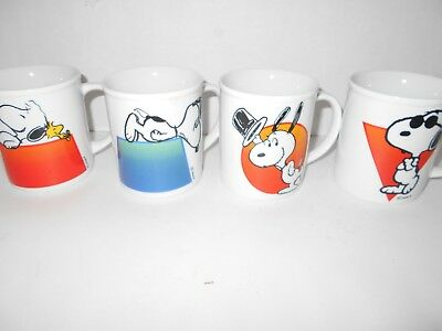 Vintage Snoopy Peanuts Joe Cool Coffee Cups / Mugs EXCELLENT