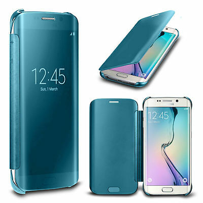 Clear View Mirror Slim Flip Folio Case Cover For Samsung Galaxy S6 S7 S8 + Plus