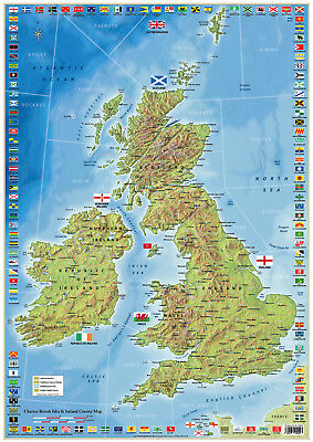 UK Map of British Isles and Ireland United Kingdom Map Britain and Eire Wall Map
