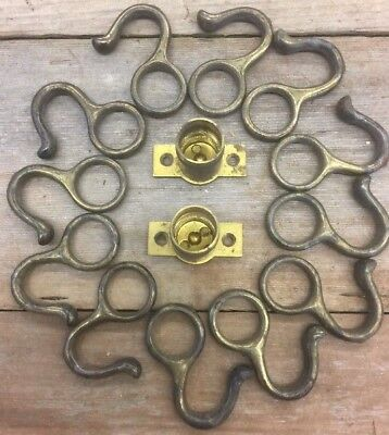 Brass Vintage Hooks Shower Curtains Or Window Lot Of 12