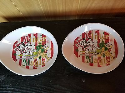 Disney Mickey & Minnie Mouse Pluto Winter Magic 2 Serving Trays Hard Plastic