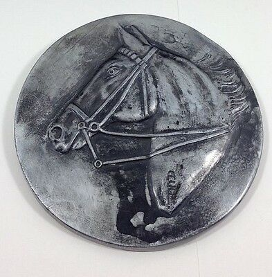 Vintage Metal Horse Equestrian Bust Wall Hanging Round Plaque