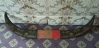 Antique Vintage Carved Wooden Buffalo Style Horn Philipines Scene Huts etc