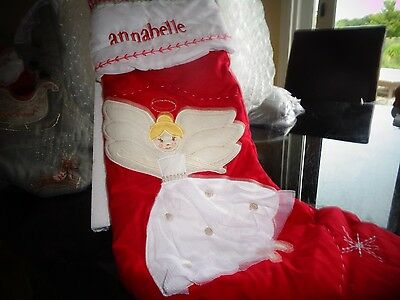 pottery barn kids quilted stocking angel blonde christmas mono annabelle new - Annabelle Christmas