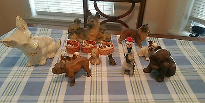 Mixed Vintage lot of 14 vintage dog figurines, various breeds and sizes