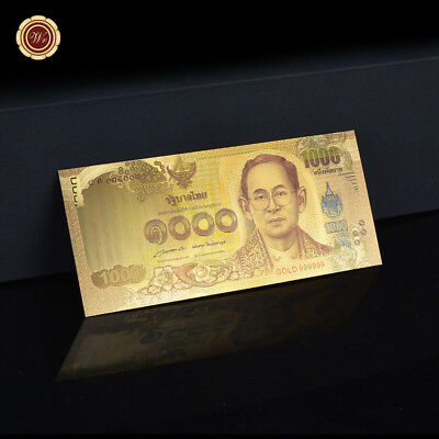 WR 2015 1000 Baht Thailand Gold Banknote 24K World Money Holiday Gift Collection
