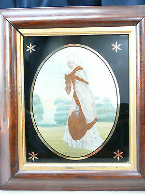 Antique Georgian Framed Silkwork Picture Lady in Landscape............ref.10099