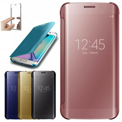 Mirror Plating Clear View Flip Folio Phone Case Slim Cover For Huawei Mate 9 P10