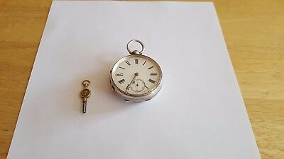 Antique Victorian Solid Silver Full Hunter Key Wind-Up Pocket Watch c1895.
