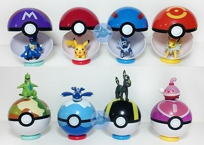 9Pokemon Pokeball Pop-up 7cm Cartoon Toy Plastic BALL Pikachu Monster Xmas D3