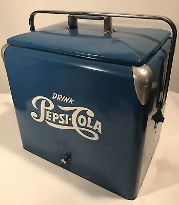 Vintage PEPSI COLA COOLER w/Tray NO RUST EXCELLENT PROGRESS EMBOSSED 19x17.5x13""