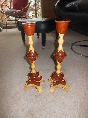 Vintage Handmade Arts & Crafts Wooden Candlesticks