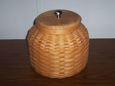 Longaberger Basket Cookie Jar Plastic Liner Wood Lid 2006