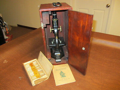 VINTAGE ANTIQUE EARLY 1900s SPENCER LENS CO #35573 BUFFALO NY MICROSCOPE IN CASE