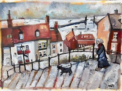 Large Original Oil  painting by Fredi  'Whitby steps' northern art